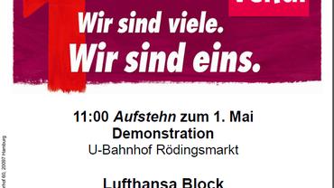Aufruf zum 1. Mai der KollegInnen der Lufthansatechnik Hamburg