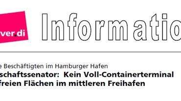 Kein Voll-Containerterminalauf freien Flächen im mittleren Freihafen