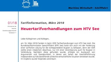 Heuertarifverhandlungen zum HTV See