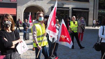 Kundgebung von Flughafenbeschäftigten vor der Finanzbehörde