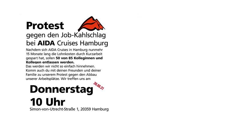 Protest gegen Kahlschlag bei AIDA Cruises in Hamburg